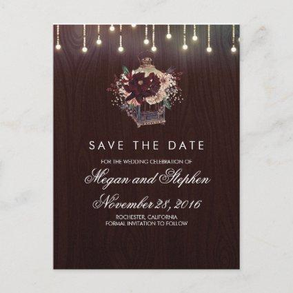 Burgundy Floral Rustic Lantern Save the Date Announcement