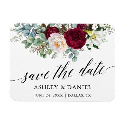 Burgundy Floral Save the Date Greenery Magnet