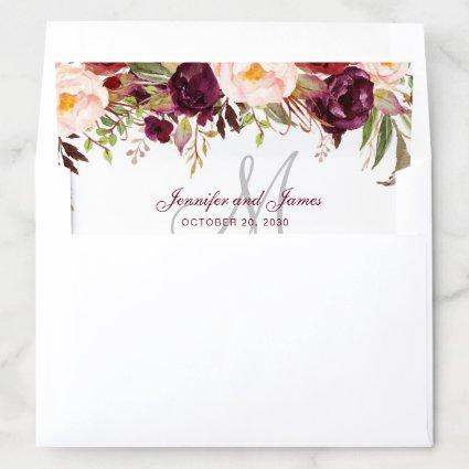 Burgundy Floral Watercolor Monogram Rustic Wedding Envelope Liner