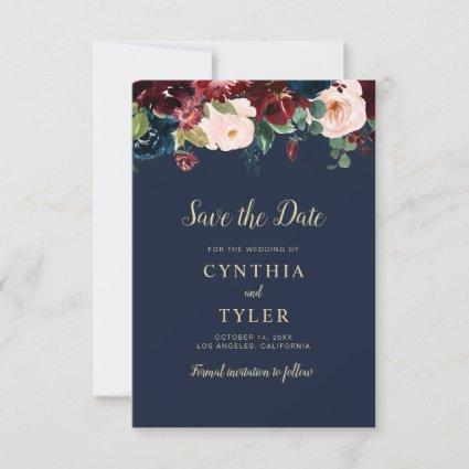 burgundy floral wedding save the date card