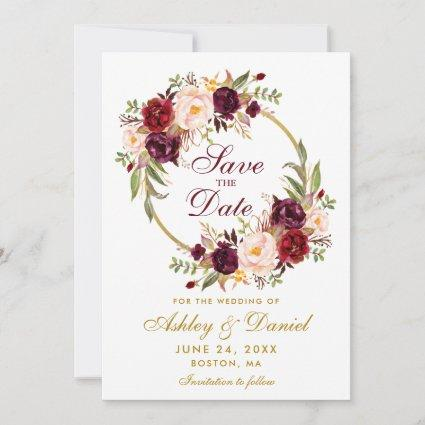 Burgundy Floral Wreath Gold Save The Date