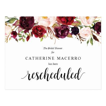 Burgundy Florals, Black, Bridal Shower Postponed