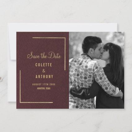 Burgundy gold floral french lace save the date
