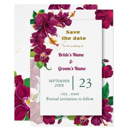 burgundy hibiscus flowers rose save the date invitation