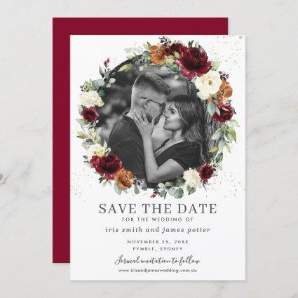 Burgundy Ivory Floral Photo Save the Date Card