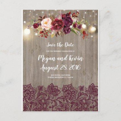 Burgundy Lace and Flowers Rustic Save the Date Announcement