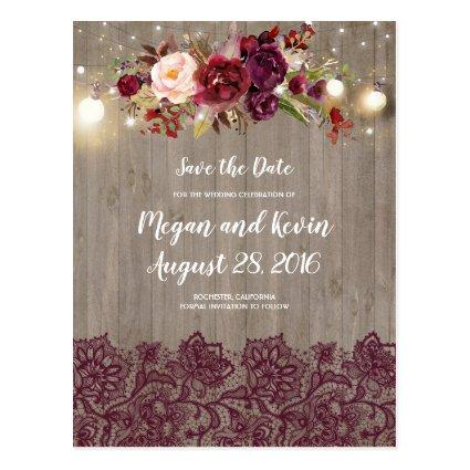 Burgundy Lace and Flowers Rustic