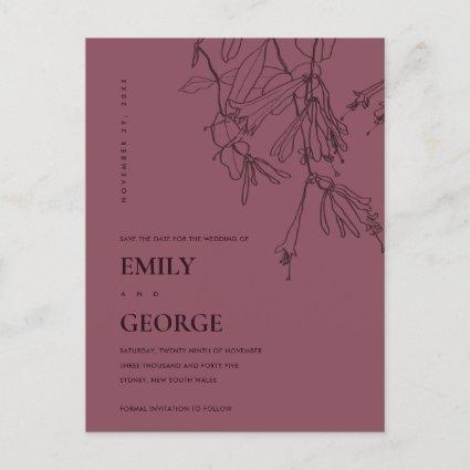 BURGUNDY LINE DRAWING FLORAL SAVE THE DATE ANNOUNCEMENT