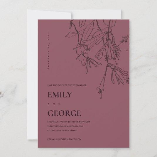 BURGUNDY LINE DRAWING FLORAL SAVE THE DATE CARD