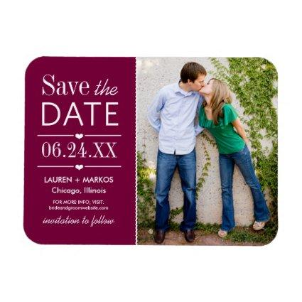 Burgundy Lovely Details Wedding Photo Save Date Magnet