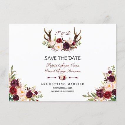 Burgundy Marsala Floral Antlers Save The Date