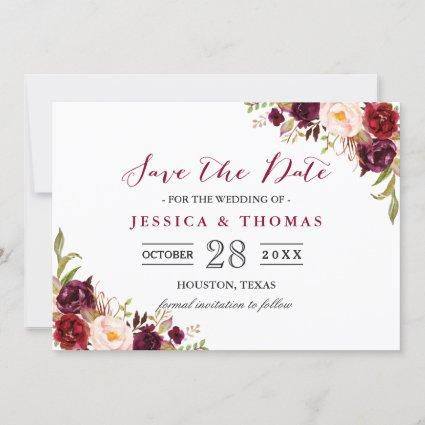 Burgundy Marsala Floral Chic Wedding Save the Date
