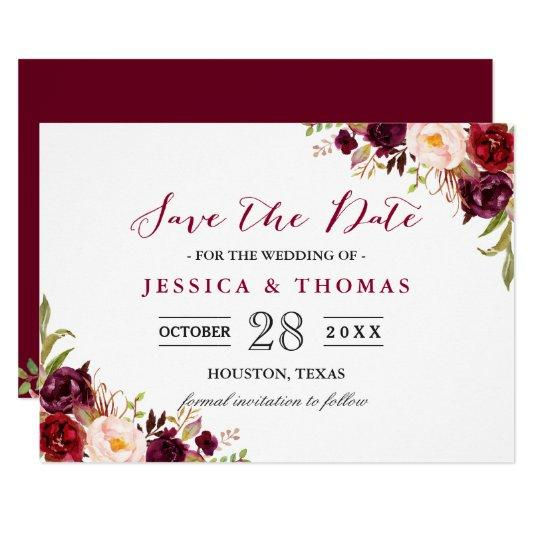 Burgundy Marsala Floral Chic Wedding Save the Date Cards
