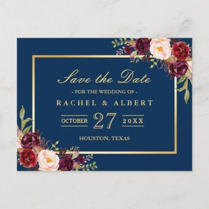 Burgundy Marsala Floral Gold Wedding Save the Date Announcement