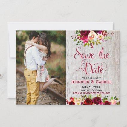 Burgundy Marsala Floral Wood Save the Date Photo