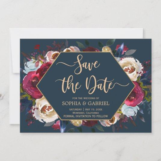 Burgundy Marsala Navy Floral   Save the Date card