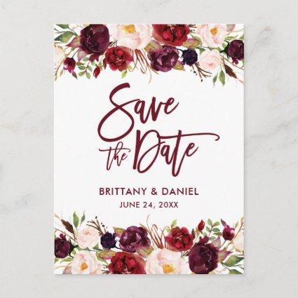 Burgundy Modern Brush Script Save the Date Floral Announcement