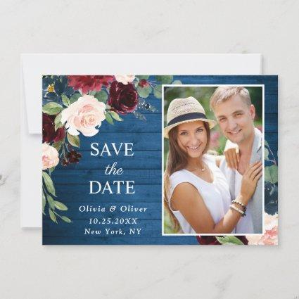 Burgundy Navy Blue Blush PHOTO Floral Wedding Save The Date