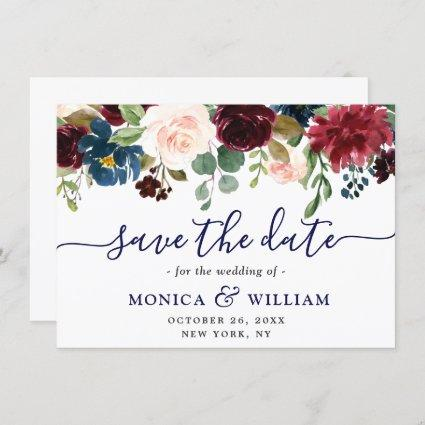 Burgundy Navy Blue Blush Rustic Floral Wedding Save The Date