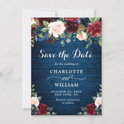Burgundy Navy Blue Blush Watercolor Floral Wedding Save The Date