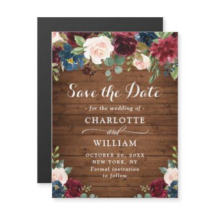 Burgundy Navy Blue Save the Date Magnetic Card
