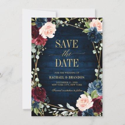 Burgundy Navy Blush Floral Geometric save the date