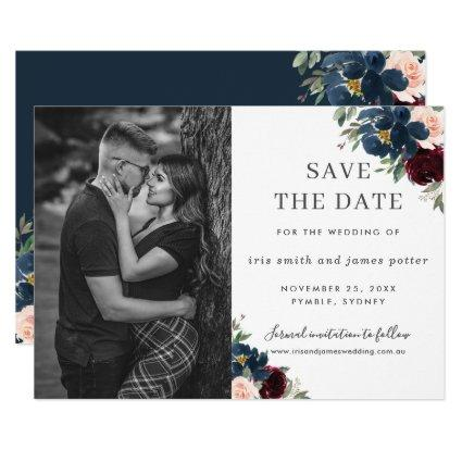 Burgundy Navy Blush Floral Photo Save the Date Invitation