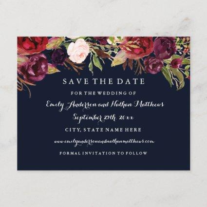 Burgundy Navy Floral Fall Wedding Save The Date