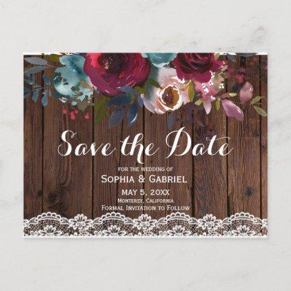 Burgundy Navy Floral Handwritten Save the Date Announcement