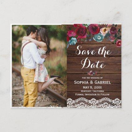 Burgundy Navy Floral Lace Wood Save the Date Photo Announcement