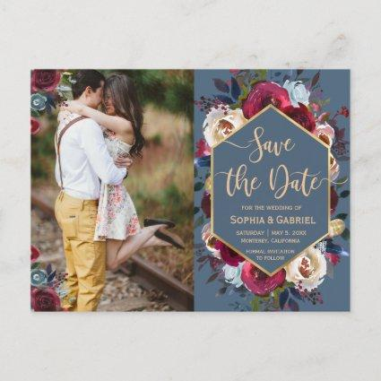Burgundy Navy Floral on Blue Photo Save the Date Announcement
