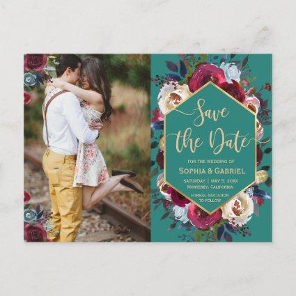 Burgundy Navy Floral on Green Photo Save the Date Announcement