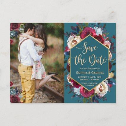 Burgundy Navy Floral on Teal Photo Save the Date Announcement