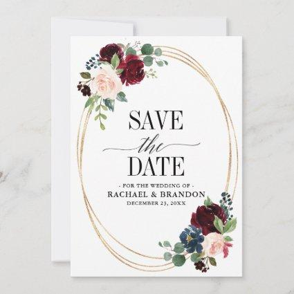 Burgundy Navy Floral Rustic Boho Country Wedding Save The Date