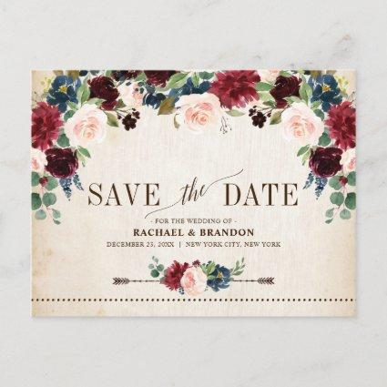Burgundy Navy Floral Rustic Country Save the Date Announcement