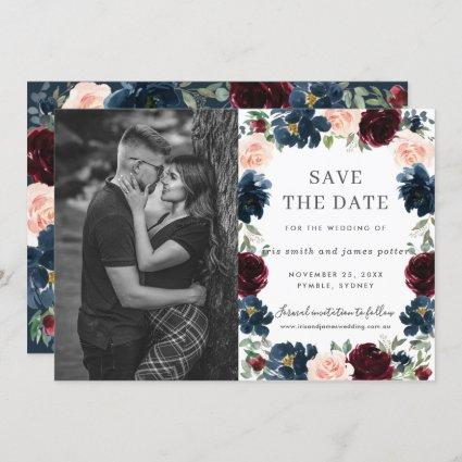 Burgundy Navy Pink Floral Photo Save the Date Card