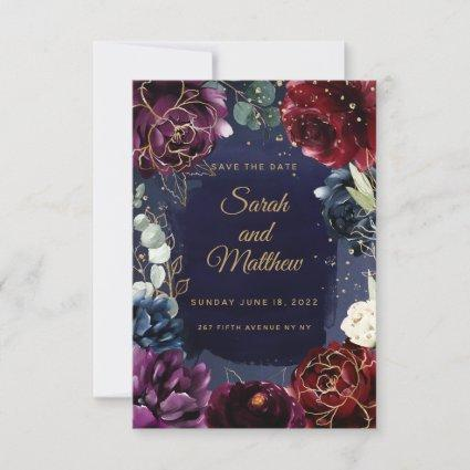 Burgundy Navy Wedding Save The Date