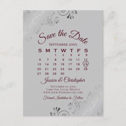 Burgundy on Gray Wedding Save the Date Calendar Announcement