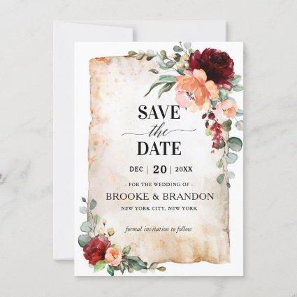Burgundy Peach Coral Pink Roses Save the Date Card