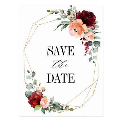 Burgundy Peach Coral Pink Roses Save the Date Post
