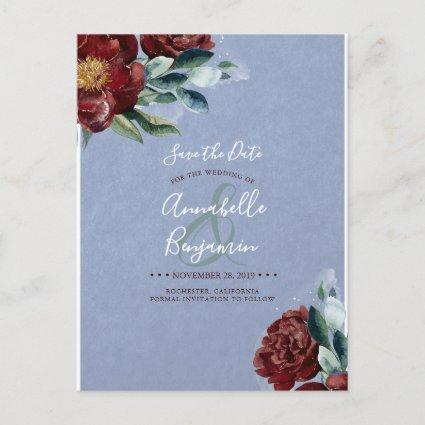Burgundy Red and Dusty Blue Floral Save the Date Announcement