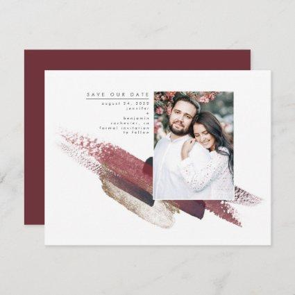 Burgundy Red and Gold Modern Save the Date Photo
