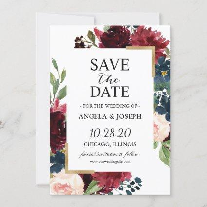 Burgundy Red Blush Blue Floral Modern Glam Wedding Save The Date
