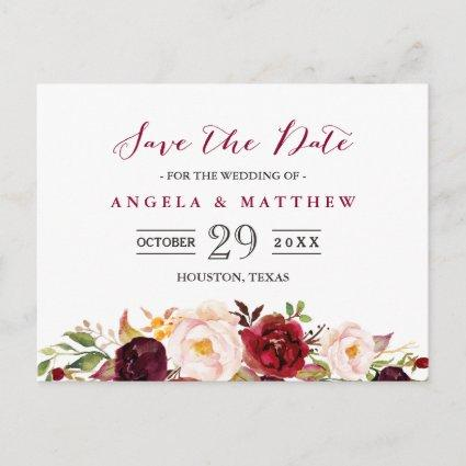 Burgundy Red Chic Floral Wedding Save the Date Announcement