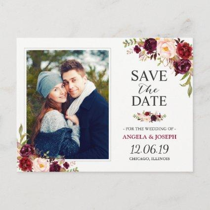 Burgundy Red Floral Chic Save the Date Photo Announcement