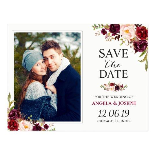 Burgundy Red Floral Chic  Photo Cards