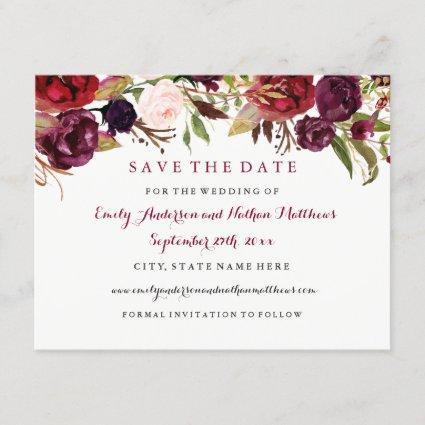 Burgundy Red Floral Fall Wedding Save The Date