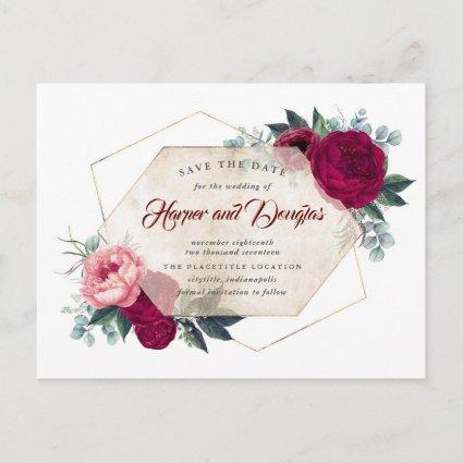 Burgundy Red Floral Geometric Fall Save the Date Announcement