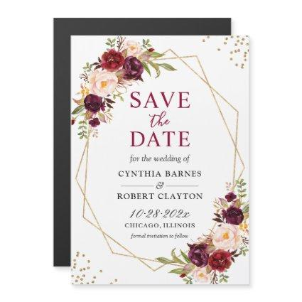 Burgundy Red Floral Geometric Save the Date Magnet