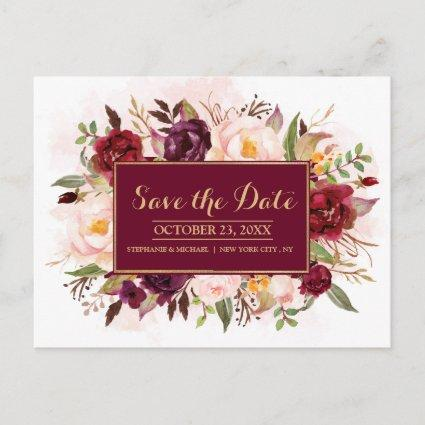 Burgundy Red Floral Rustic Boho Save the Date Announcement